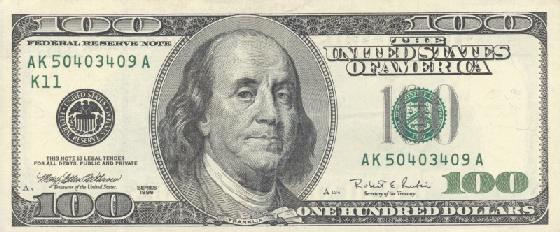Бенджамин Франклин на стодолларовой купюре