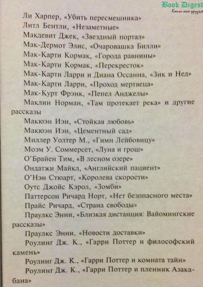 Список книги Кинг
